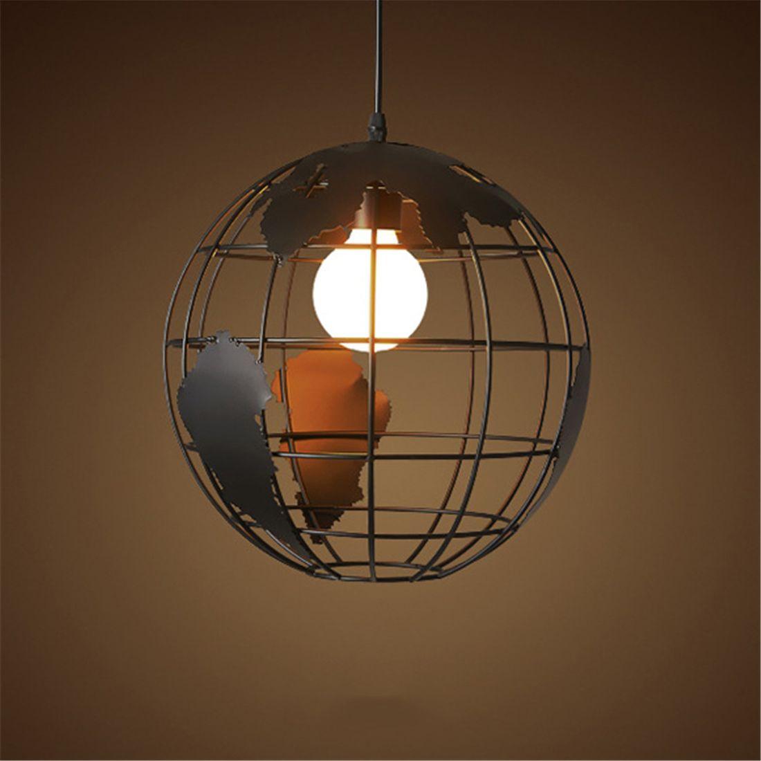 Black Creative Loft Continental Single Retro Globe Chandelier Modern Metallic Lounge Cafe Casual Ceiling Lamp Globe Chandelier