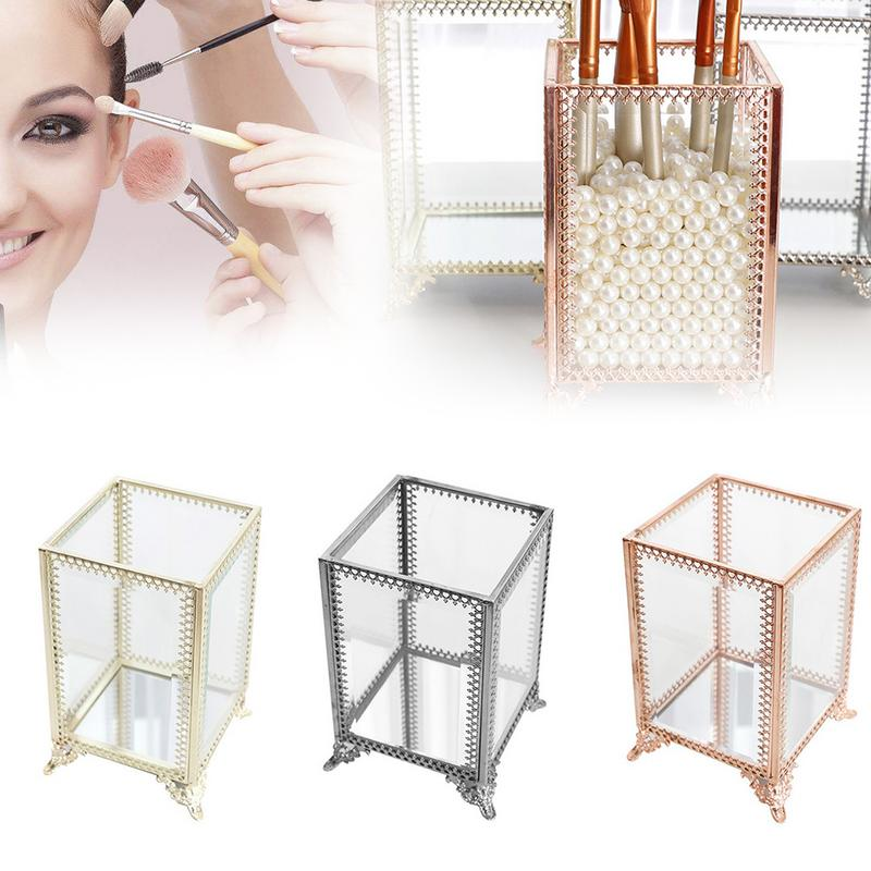 Storage-Box Lipstick-Organizer Makeup-Brush Cosmetic-Tool-Holder Glass Clear Case
