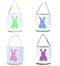 New Cute Easter Egg Basket Holiday Rabbit Bunny Printed Canvas Gift Kids Carry Eggs Candy Bag