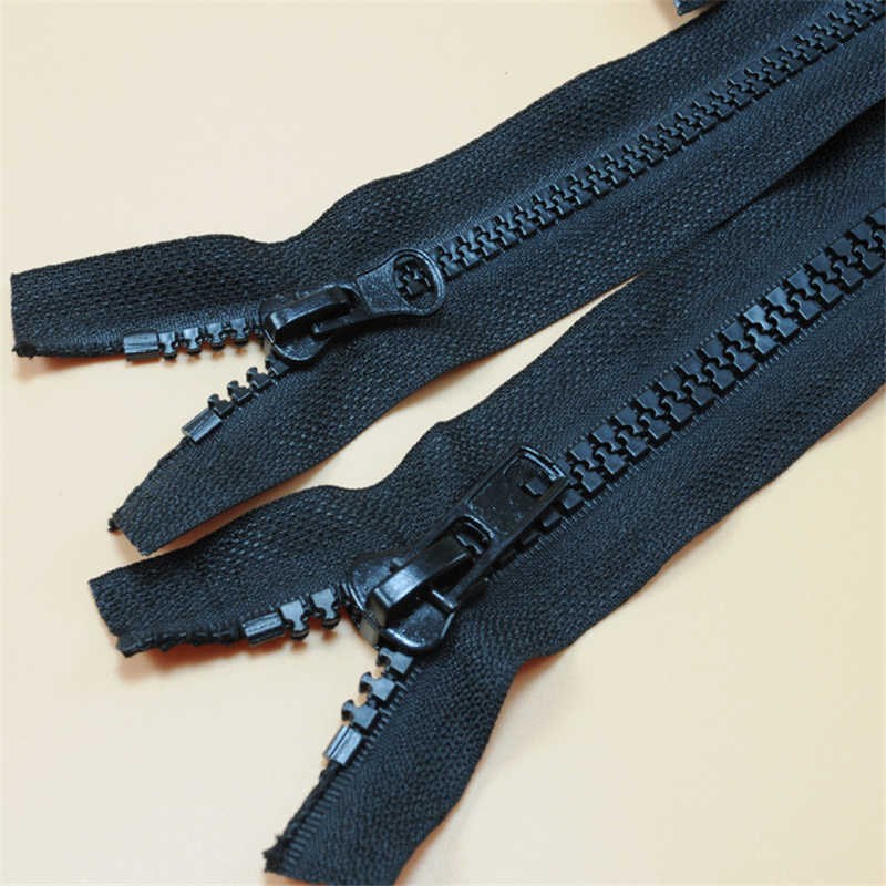 Zíperes para costura DIY materiais NO. 5 e 8 resina dentes grossos pretos fechados com zíper para baixo roupas bolso com zíper para vestuário IQ007