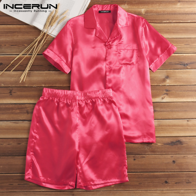 INCERUN Men Sleepwear Pajamas-Sets T-Shirt Shorts Two-Piece-Suits Satin Silk Summer Soft