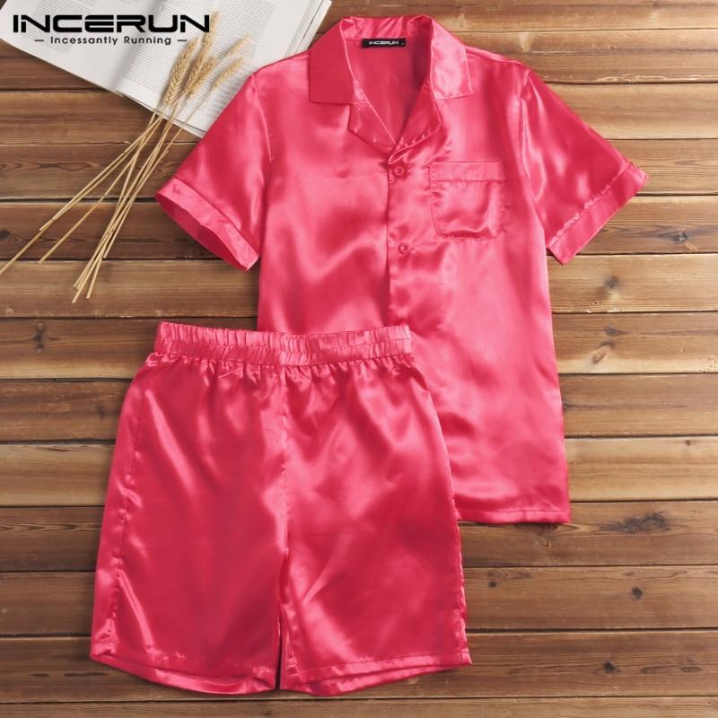 S-5XL Fashion Silk Satin Men Pajamas Sets Short Sleeve Soft Homewear T Shirt Shorts Two Piece Suits Men Sleepwear Summer INCERUN