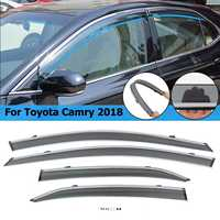 4pcs Car Styling Front & Rear Sun Window Visors Chrome Trim For Toyota Camry 2018 Smoke