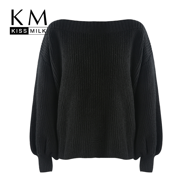 Kissmilk Plus Size Simple wild lantern sleeves boat collar long pure black pullover retro sweater