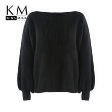 цена Kissmilk Plus Size Simple wild lantern sleeves boat collar long sleeves pure black pullover retro sweater