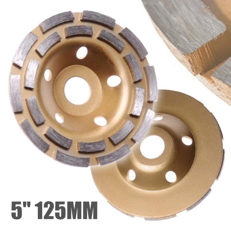 125mm Diamond Grinding Disc Diamond Disc Bowl Grinding Cup Wheels Double Row Grinding Disc Brick Concrete Cut for Angle Grinder125mm Diamond Grinding Disc Diamond Disc Bowl Grinding Cup Wheels Double Row Grinding Disc Brick Concrete Cut for Angle Grinder