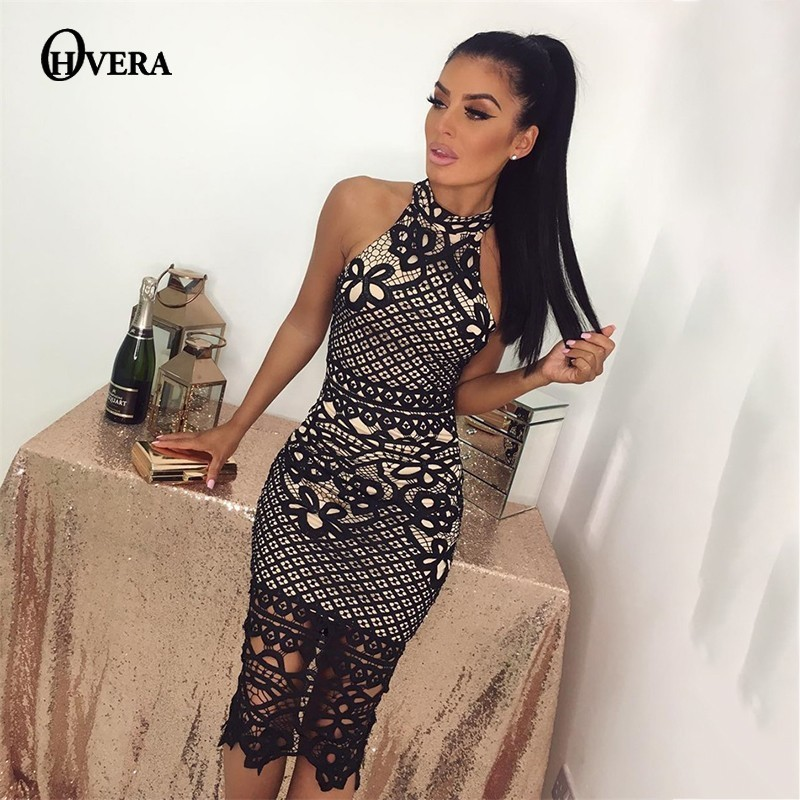1d64893ac2a1 Ohvera Red Black Lace Dress Women Summer Sexy Party Dresses 2018 Cold  Shoulder Halter Midi Bodycon