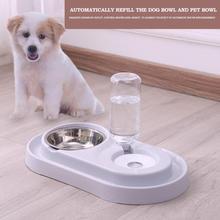 Творческий двойной порт собака еда блюдо чаша автоматический диспенсер для воды кормушка для кота питья питомец питьевой фонтан