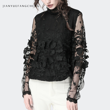 Casual 3D Floral Black Chiffon Blouse Stand Collar Transparent See Through Long Sleeve Ladies' Tops Plus Szie Women Shirts floral chiffon see thru blouse