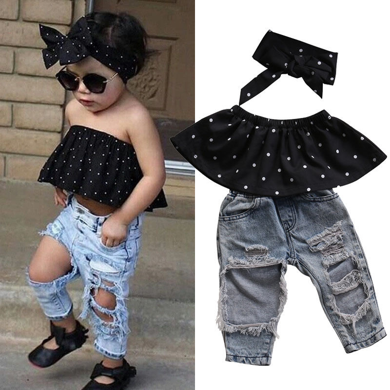Summer Toddler Baby Girls Clothes Set Dot Sleeveless 3pcs Tops Vest+Hole Jeans Outfits Casual Clothes 0-3Y Girls Baby Fashion