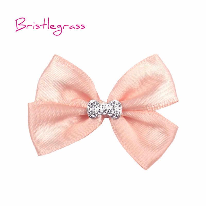 Bristlegrass 10 Pcs Mini Pink Satin Pita Bunga Dasi Kupu-kupu dengan Pad Anak-anak Bando Ikat Rambut Korsase Pernikahan Gaun DIY kerajinan
