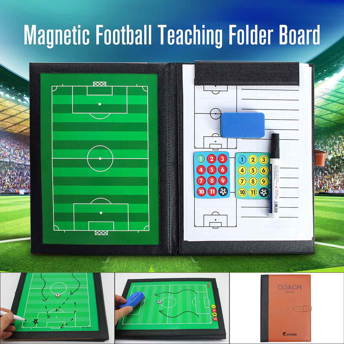 A4 For Precision Tactical Board Soccer Basketball For Coach Clipboard Basketball Double-side Board PU Material Soccer Fold Board