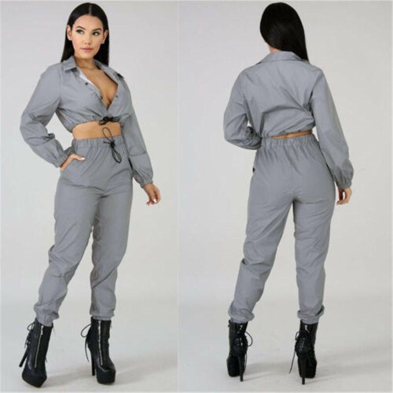 Hirigin Leisure 2Pcs Women Outfits Set Fashion Female V Neck Button Shinning Reflective Girls Female Sets Dropship