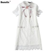 Banulin Elegant Bow Tie Flower Hollow Out Lace Dress Women Summer Mini White/Pink Dress 2019 Vestidos Sequined Short Sweet Dress все цены