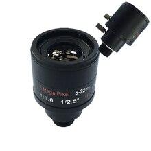 Lente varifocal f1.6 da montagem da polegada 6 22mm 5mp m12 do cctv 1/2.5 para 4mp/5mp cmos/ccd sensor de segurança ip/ahd câmera