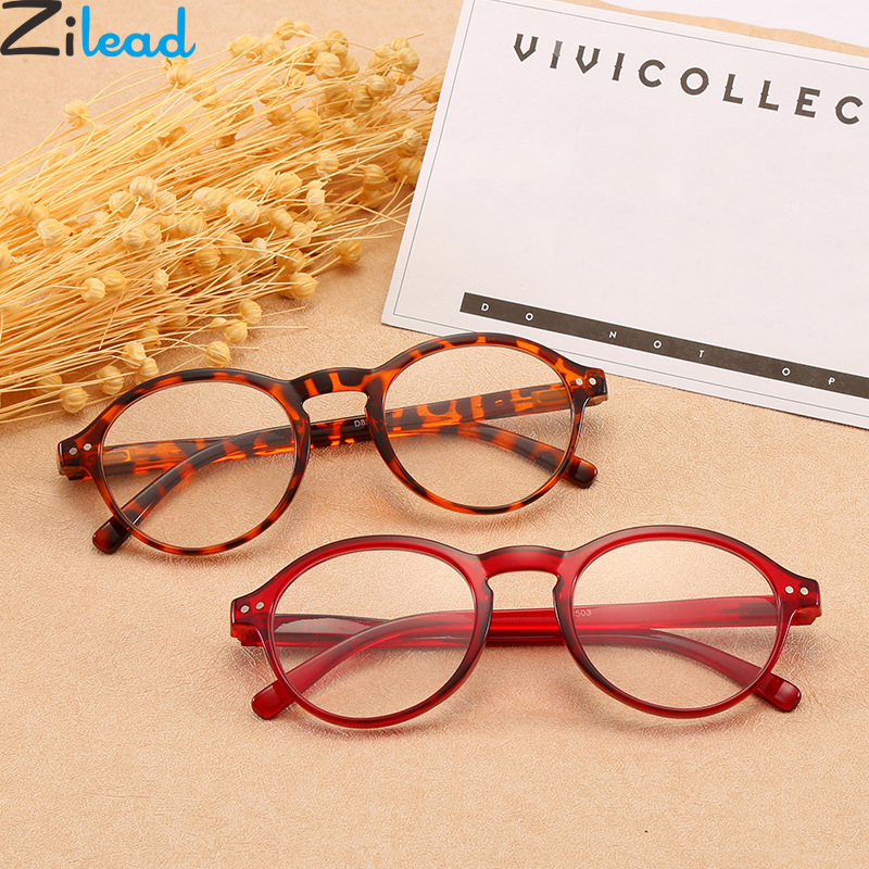 Zilead Round Frame Reading Glasses Women&Men Clear Lens Presbyopic Eyewear With Diopter +1.0to+4.0 Unisex