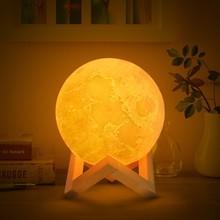 Прямая поставка; Перезаряжаемые светодиодный ночной Светильник луна лампа 3D печать Луны светильник Луна Спальня домашний Декор 16 Цвета сенсорный переключатель подарок на год