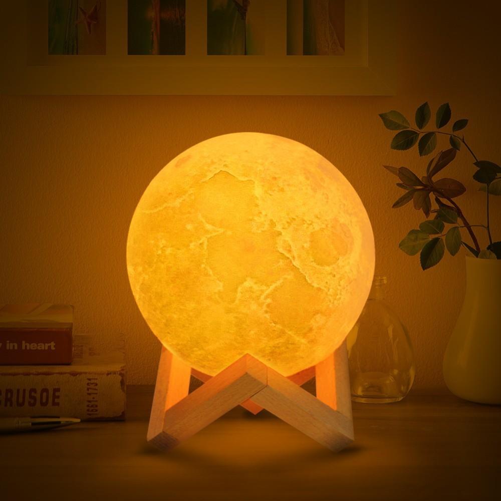 Livraison directe Rechargeable LED veilleuse lune lampe 3D impression Moonlight Luna chambre décor à la maison 16 couleurs tactile interrupteur nouvel an cadeau