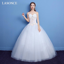 LASONCE Lace Flowers Appliques Strapless Ball Gown Wedding Dresses Crystal Off The Shoulder Backless Bridal Dress