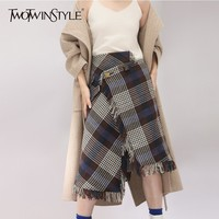 TWOTWINSTYLE Asymmetrical Midi Wool Skirts Female High Waist Back Split Irregular Tassel Plaid Skirt For Women 2018 Winter New