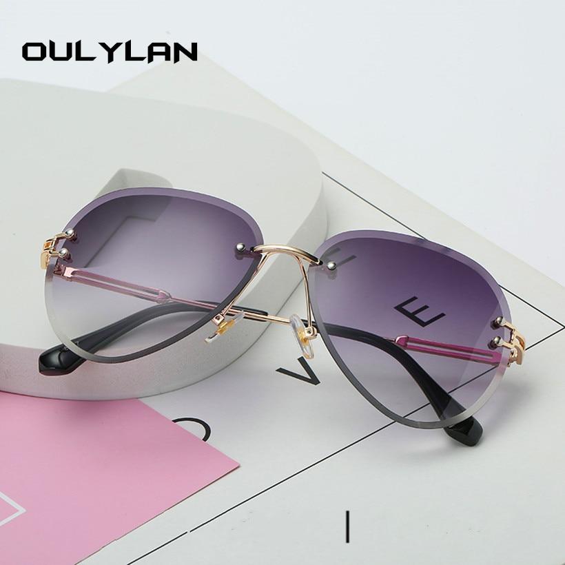 Oulylan Rimless Sunglasses Women Brand Designer Sun Glasses Gradient Shades Cutting Lens Ladies Frameless Metal Eyeglasses UV400 4