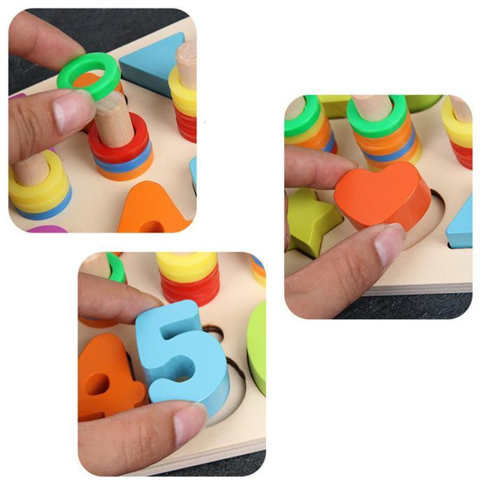 Early Education 3D Puzzles Toy For Children Math Multicolor Board Wooden Cartoon > years Jigsaw