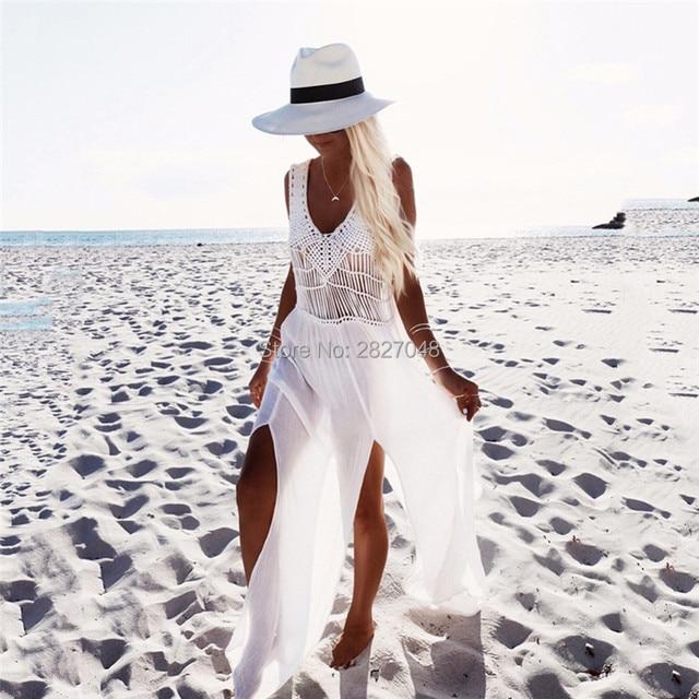 2019 Crochet Chiffon Patchwork Beach Dress Tassels Saida De Praia Crochet Beach Covers up Fringe Beachwear Plait Coverup 1