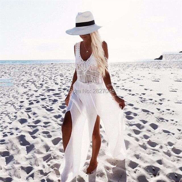71b73000a0 2019 Crochet Chiffon Patchwork Beach Dress Tassels Saida De Praia Crochet  Beach Covers up Fringe Beachwear Plait Coverup