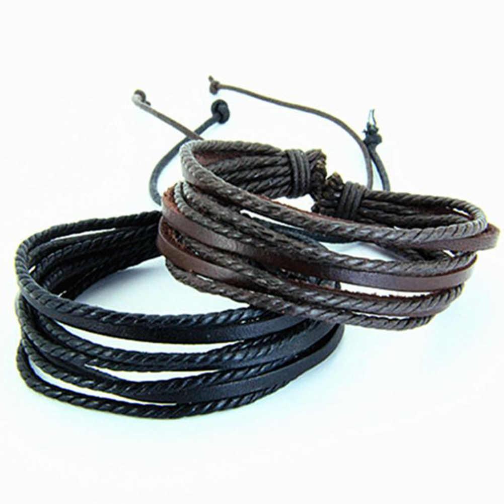 Moda wielowarstwowe skórzane plecione uroku bransoletki dla kobiet mężczyzn regulowany czarny brązowy ręcznie tkana lina nadgarstek Pulseras Mujer