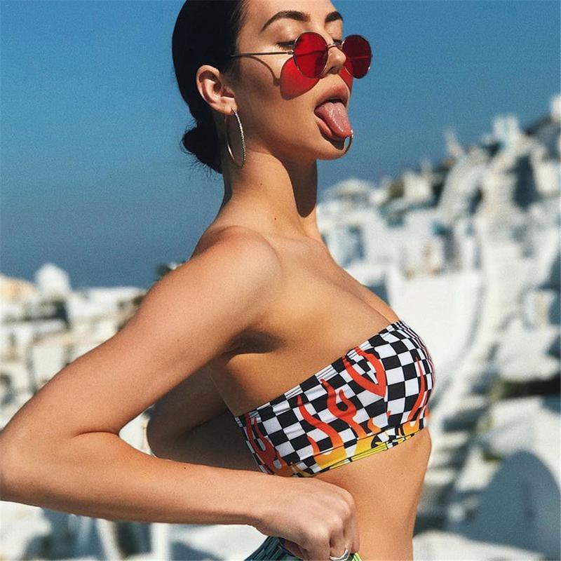 New Personality Trends Style Flame Black White Plaid Contrast Colors Printed Wrapped Chest Tube Top Crop Top T Shirt Vestidos in Sports Bras from Sports Entertainment