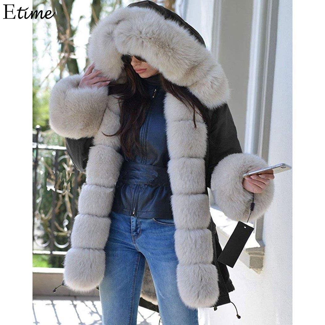 FANALA 2018 Winter Jacket Women Cotton Wadded Fur Hooded Coat Casual Ladies Warm   Parkas   Women Winter Long Coats Jaqueta Feminina