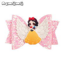 ncmama Princess Hair Bows for Girls Shiny Glitter Clips 3 Cartoon Wings Hairpins Handmade Kids Barrettes Accessories