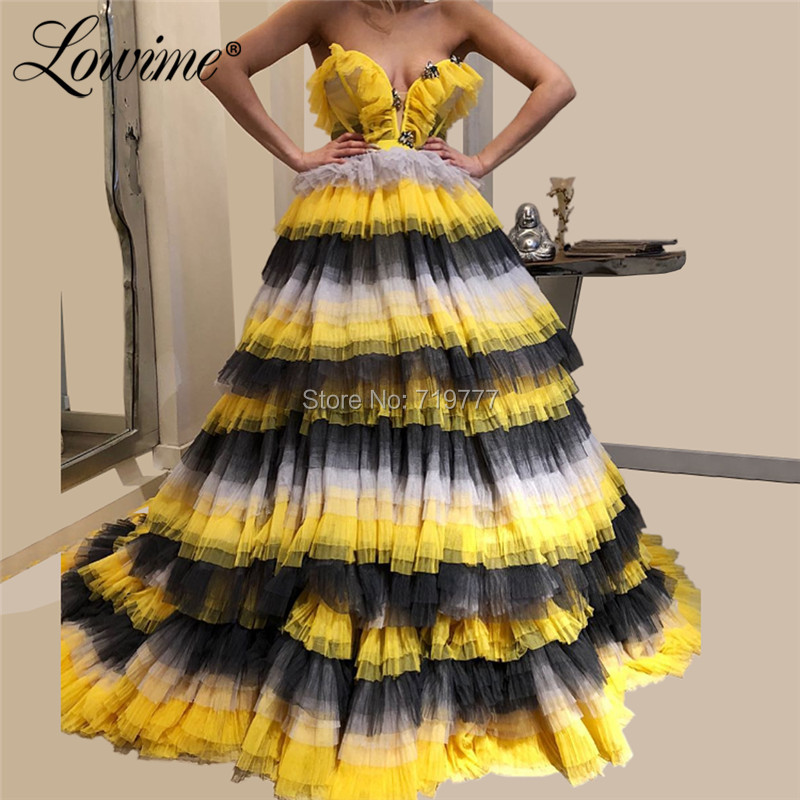 Tiered Princess Prom Dresses Vestidos De Gala 2019 Beaded Contrast Color Formal Women Evening Gowns Elegant Party Dress Vestidos