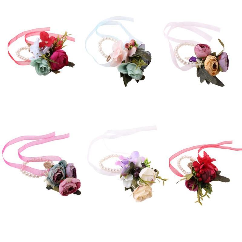 Baby Girls Simulation Flower Headband Wreath Kids Wedding Floral Wrist Ring Floral Garland Hair Band Holiday Children Accessori Neither Too Hard Nor Too Soft