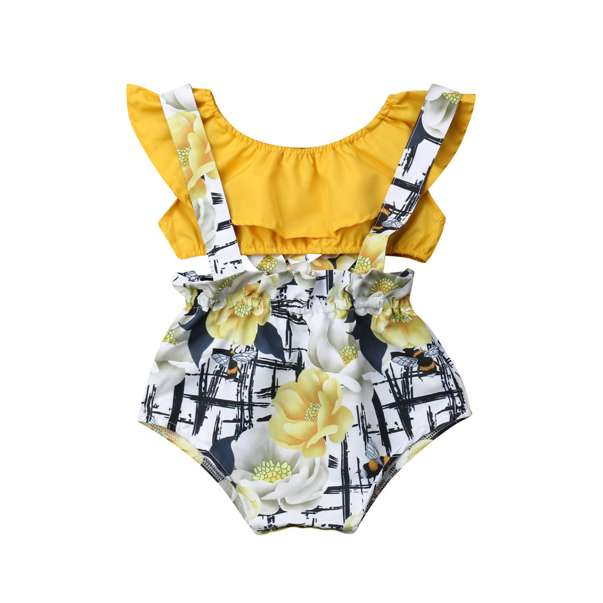 Newborn Baby Girl Kids Summer Toddler Summer Outfits Clothes Ruffle Floral Print Romper Tops with Skirt 2PCS Set