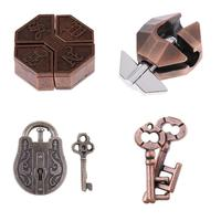4pcs Metal Chinese Lock Puzzles IQ Test Toys Metal Brain Teaser Education for Adults Kids Children