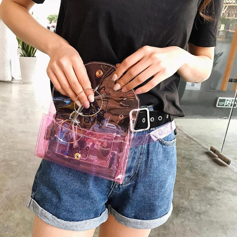 Clear Fashion Beach Belt Fanny Packs Female Summer New 2019 PVC Waist Bags Women Ladies Girls Transparent Jelly Chest Handbags