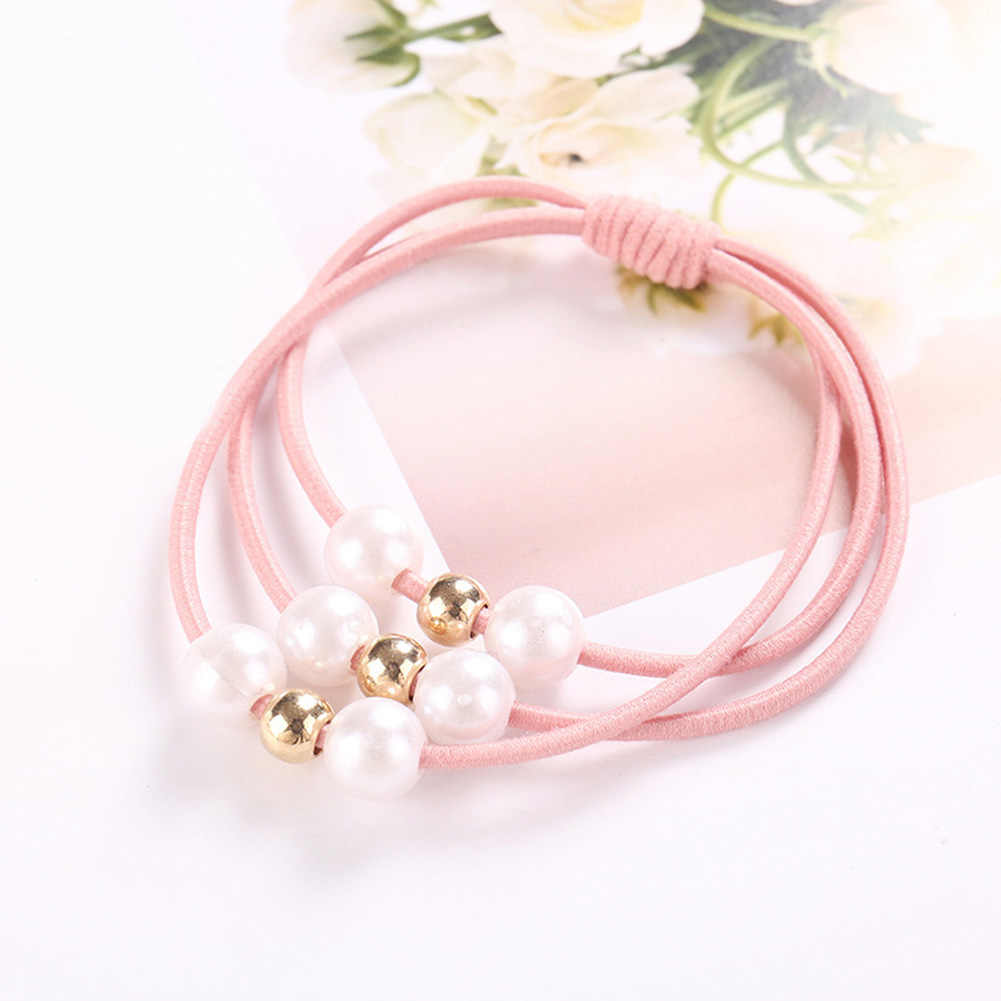 Korean Sweet Pearl Bead Knotted Elastic Hair Bands Hair Ties For Girls Women Hair Rubber Ring Ties Gum Hair Accessories For Gift