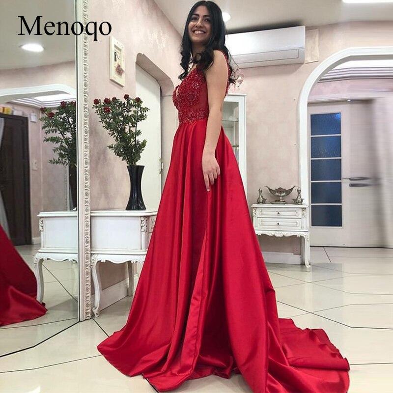 0162732e22d4da6 Menoqo сексуальные красные платья для выпускного глубокий v-образный вырез  аппликация без рукавов 2019 Новые Вечерние платья атласные А-силуэта .