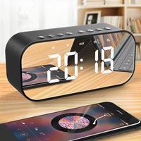 Portable LED Digital Alarm Clock Wireless Bluetooth Stereo Speaker LED Display Music Sound Box With Alarm Clock Mirror Desk Deco