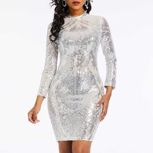 Women Mini Dresses Casual Sexy Club Elegant Office Lady Punk Bodycon Solid Sequins Embroidery Summer Female Fashion Silver Dress(China)