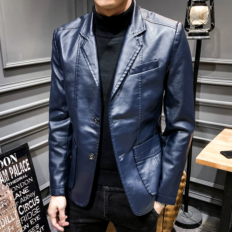 PU Leather Blazer Men Brand New Suit Jacket Casual Slim Fit Motorcycle