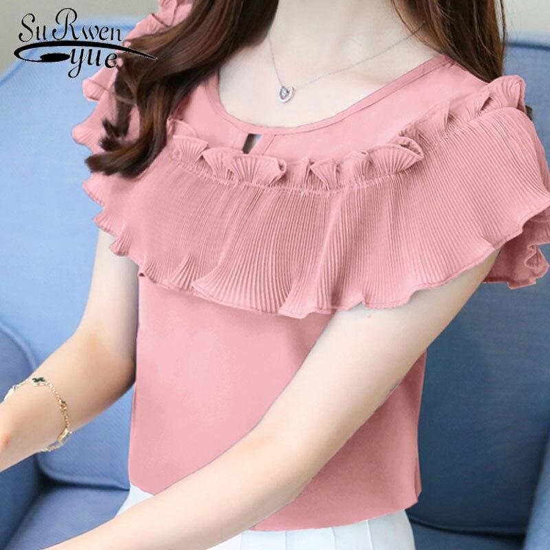 2019 fashion short sleeve chiffon women's clothing summer pink women's tops sweet plus size women   blouse     shirt   blusas D761 30