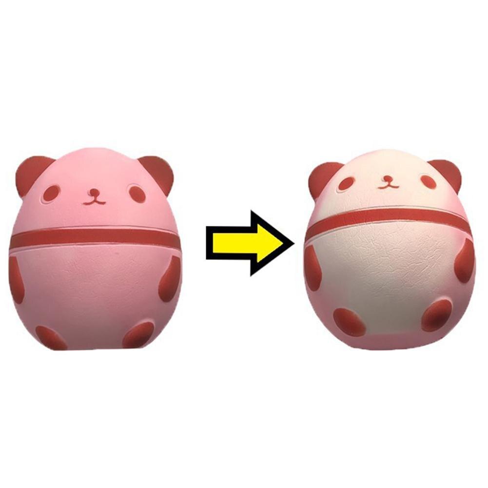 Kids Stress Reliver Cute Temperature Sensing Panda Egg Shape Squishy Toy Decor
