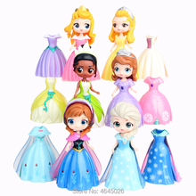 Magiclip Princess Dress Elsa Anna Sofia Magic Clip Dolls Action Figures Tiana Aurora Figurines Kids Toys for Children Girls 10CM стоимость