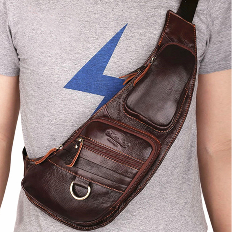 High Quality Men Genuine Leather 100% Real Cowhide Retro Messenger Shoulder Crossbody Bag Vintage Sling Chest Day Pack Half Moon