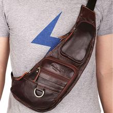 High Quality Men Genuine Leather 100% Real Cowhide Retro Messenger Shoulder Crossbody Bag Vintage Sling Chest Day Pack Half Moon