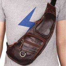 Sacoche à bandoulière en cuir véritable pour hommes, sacoche de bonne qualité, 100% cuir de vache véritable, sac à bandoulière Vintage de poitrine, paquet de jour demi lune