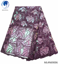 BEAUTIFICAL sequins tulle fabric 2019 latest african french lace 5 yards net ML4N690