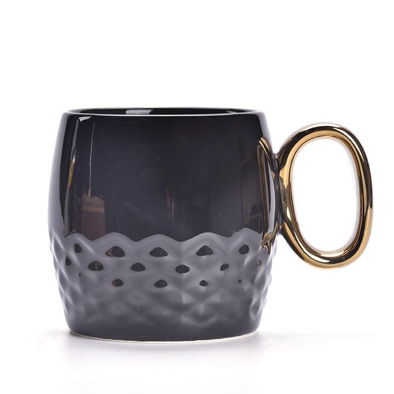 Noir blanc ligne céramique tasse géométrie originalité bureau apporter couverture café motif Marc café voyage tasse lait eau boisson